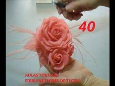 AULA 40: ARRANJO DE ROSAS DE TECIDO ENGOMADO E FRISADO