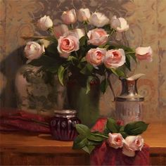 Fresh Flowers by Laurie Kersey Oil ~ 24 x 24 Painting Still Life, Still Life Art, Flower Oil, Flower Vases, Still Life Flowers, Painting Competition, Oil Painting Flowers, Flower Paintings, Rose Art