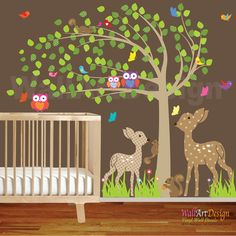 Vinyl Wall Decal Tree Set Nursery Wall Stickers with owls,butterflies,deer,birds Forest wall decal