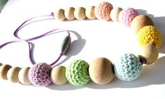 Baby Nursing Necklace with Crochet Wood Beads by BelladonnasJoy