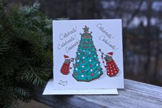 Dr. Who Dalek Christmas Card CELEBRATE Original by ImageVermont