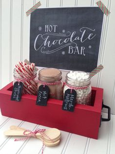 Hot Chocolate Bar Station Basic Hot Cocoa Bar by SimpleSerendipity . - Hot Chocolate Bar Station Basic Hot Cocoa Bar by SimpleSerendipity - Christmas Pajama Party, Christmas Brunch, Christmas Morning, Christmas Treats, Christmas Fun, Diy Christmas Boxes, Diy Christmas Party Decorations, Christmas Party Ideas For Teens, Polar Express Christmas Party
