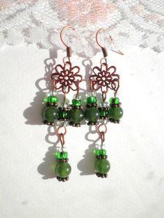 Green Jade Copper Earrings from juta ehted - my jewelry shop by DaWanda.com