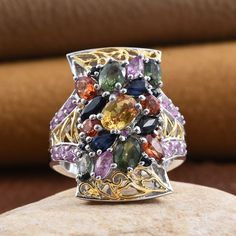 Multi Sapphire 14K Yellow Gold and Platinum Over Sterling Silver Ring