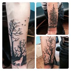 My forearm tree wrap, with a wolf silhouette .