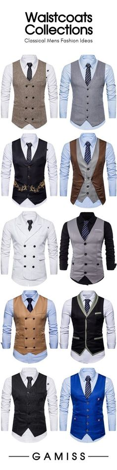 Waistcoat men - Waistcoats for males Stylish Mens Outfits, Casual Outfits, Fashion Outfits, Fashion Coat, Der Gentleman, Gentleman Style, Moda Formal, Designer Suits For Men, Men Style Tips