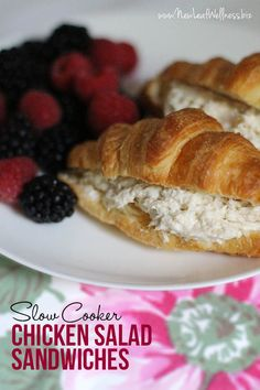 Slow Cooker Chicken Salad Sandwiches. Awesome dinner or lunch recipe and great when your entertaining! Easy meal idea!