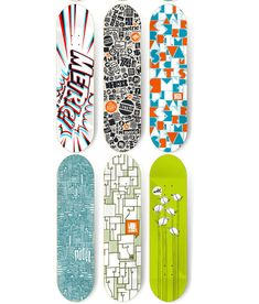 skateboard ideas 5 various simplistic patterns illustrations mixed with letterings and standalone lettering - Skateboard Design Ideas