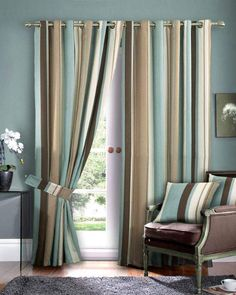 Blue and brown and tan striped curtains lr