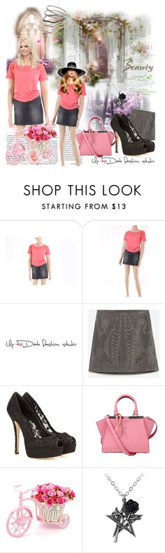 """""""Coral top contest"""" by irinavsl ❤ liked on Polyvore featuring Britney Spears, Zara, Dolce&Gabbana, Fendi and Topshop"""