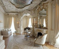 #French #chateau #salon #mantel #neutrals #creamy #gilded #ceiling