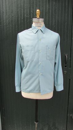 Vintage 1960's Blue Long Sleeve Shirt 1960's by lovestreetsf