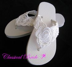 Lace embroidered wedding bridal flip flops in ivory or white for wedding party bride bridesmaid maid of honor beach flip flops sandals shoes Bridesmaid Flip Flops, Beach Bridesmaids, Wedding Flip Flops, White Flip Flops, Beach Flip Flops, Flip Flop Shoes, Bling Wedding Shoes, Bling Shoes, Decorating Flip Flops