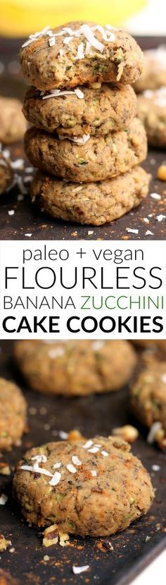 These easy Banana Zucchini Cake Cookies are so soft and pillowy that you'd never guess were healthy! In addition to being vegan and gluten-free that also have zero oil butter and refined sugar. With only 87 calories per cookie enjoy a couple for break Paleo Dessert, Healthy Sweets, Healthy Baking, Dinner Healthy, Healthy Snacks, Paleo Recipes, Cookie Recipes, Snack Recipes, Dessert Recipes
