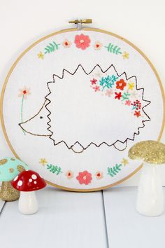 Harriet and Rosie - New Floral Embroidery Patterns! These floral woodland animal embroidery patterns are perfect for beginner or more experienced stitchers!