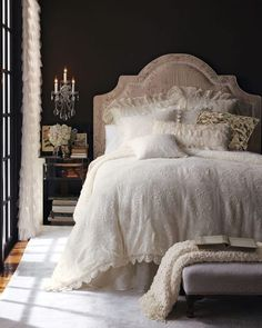 Dark walls and door with dreamy white bedlinen. Great use of contrast for this #bedroom #interior #decor