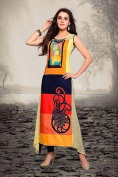 Afghani Style Multicolor Georgette Kurti @Looksgud.in #Aishwarya, #MultiColor, #Kurti, #Casual