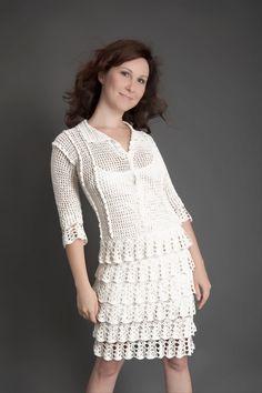 White exclusive crochet dress by LecrochetArt on Etsy