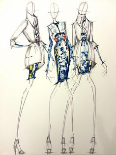 Mary Katrantzou - Sketchbook Research  Although she doesn't make or use sketchbooks, I don't think, I think these types of drawings and designs are suited and can be used in sketchbooks as the silhouette isn't greatly detailed compared to the garment which would be a good idea because you can spend so much more time on the garment and the details and colour rather than getting the silhouette perfect.