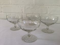 Hocking Glass Company Block Optic Sherbets by VintageTakes on Etsy