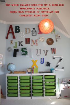 How To Organize a Montessori Homeschool Classroom by My Montessori Moments.  I don't plan on having an actual montessori classroom, but this is a nice post on an organized schoolroom regardless.  and I especially like this pic with the alphabet letters posted on the wall.