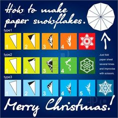 Illustration of How to make paper snowflakes template
