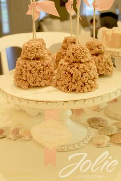 Recreate a sandcastle from rice crispy treats for the mermaid party.