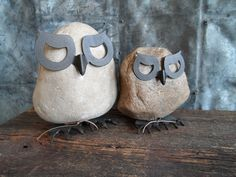 """""""owl"""" always love you .......                                                 field stone and metal owl sculptures"""