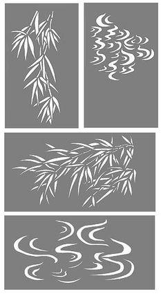 Bamboo and Water Swirls Stencil Bamboo Stencils