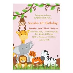 Girls jungle safari birthday party invitations safari birthday cute jungle animals girl birthday party invitation personalized invitations stopboris Images