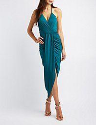 Green Surplice Tulip Maxi Dress