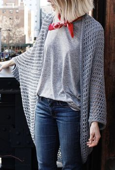 Free Knitting Pattern for Easy Chelsea Cape - I have to knit this now! This easy cocoon cardigan is knit in a lace net that drapes beautifully. Designed by Alexandra Tavel for Two of Wands. #forme