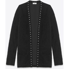 Saint Laurent Studded Cardigan ($1,660) ❤ liked on Polyvore featuring tops, cardigans, yves saint laurent, v-neck top, cardigan top, mohair cardigan and v neck tops