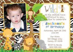 Safari Jungle Animals 1st Birthday Invitation Wild by jcbabycakes, $11.00