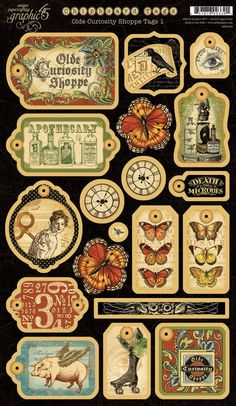 Graphic 45 - Olde Curiosity Shoppe Collection - Die Cut Chipboard Pieces - Tags One Vintage Diy, Vintage Tags, Vintage Labels, Vintage Ephemera, Vintage Paper, Vintage Prints, Vintage Graphics Free, Vintage Stuff, Graphic 45