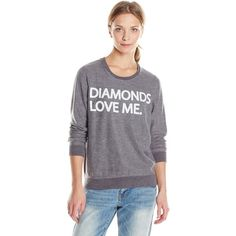 Chaser Women's Diamonds Love Me Graphic Crew-Neck Long-Sleeve... ($63) ❤ liked on Polyvore featuring tops, hoodies, sweatshirts, crew neck tee, chaser t shirts, crewneck t-shirt, long sleeve crew neck tee y diamond t shirts