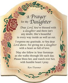 Inspirational Poems for My Daughter | Prayer For My Daughter Plaque