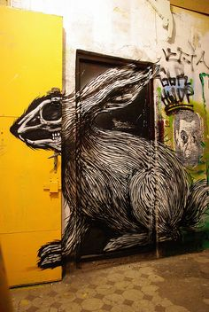 ROA Warsaw with the door open the face changes to a skeleton view