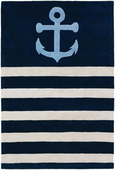 Buy the Chandra Rugs Blue / Cream Direct. Shop for the Chandra Rugs Blue / Cream Thomaspaul x Rectangle Wool Hand Tufted Contemporary Area Rug and save. Nautical Rugs, Nautical Nursery, Nautical Anchor, Wool Area Rugs, Blue Area Rugs, Wool Rug, Navy Blue Pillows, Nautical Bathrooms, Contemporary Area Rugs