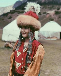 Kyrgyz girl Begimay Karybekova in traditional costume