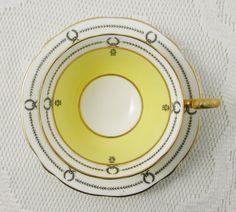 Aynsley Yellow Tea Cup and Saucer with Black Border, Vintage English Bone China