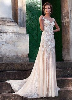 Fabulous Tulle Bateau Neckline Sheath Wedding Dresses With Lace Appliques