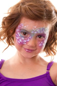 Fairy face paint design - flowers and stars #facepaint #fairyparty #facepaintdesigns #fairy