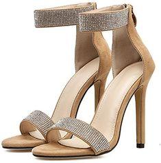 803f29b27d24f4 YOGLY Femme Escarpins Boucle Bout Ouvert Sandale Été Sexy Elégant Strass  Mousseux Chaussures à Talons Hauts