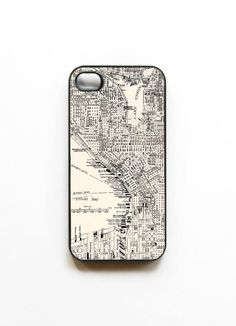 iPhone 4 Case Vintage Seattle Map by onyourcasestore on Etsy, $16.99