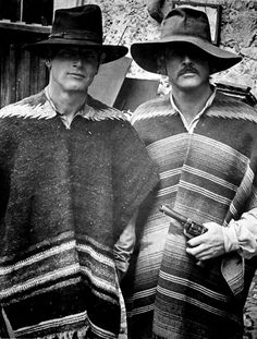 Portrait of actors Paul Newman and Robert Redford, wearing ponchos and hats, on the set of the movie 'Butch Cassidy and the Sundance Kid', Get premium, high resolution news photos at Getty Images Hollywood Stars, Classic Hollywood, Old Hollywood, Sundance Kid, Paul Newman Robert Redford, Westerns, Billy The Kid, Katharine Ross, Saint Yves