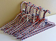 Hand Braided Coat Hangers in Red White & Blue set of by diversarty