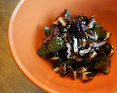 Spiced Candied Pecans on Roasted Broccoli