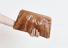 Vintage 70s Brown Snakeskin PURSE / 1970s Convertible Leather Shoulder Bag or Clutch