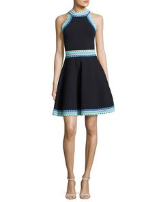 MILLY Woven-Trim Flare Dress, Black. #milly #cloth #